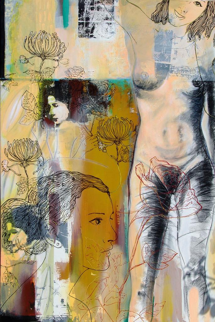 Parceria Julio Cunha e Filipe Rodrigues, técnica mista sobre tela, 120 x 80 cm