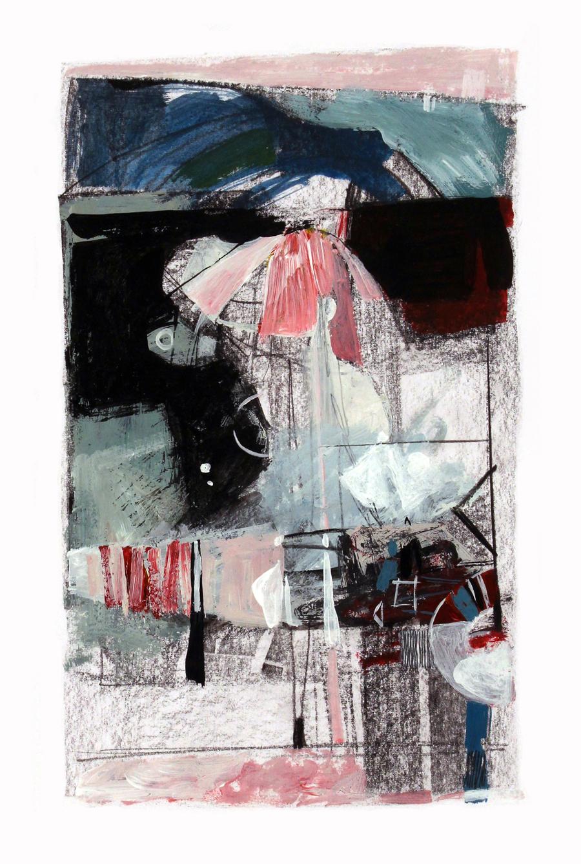 Sem título, carvão, grafite e acrílico sobre papel, 21 x 12 cm