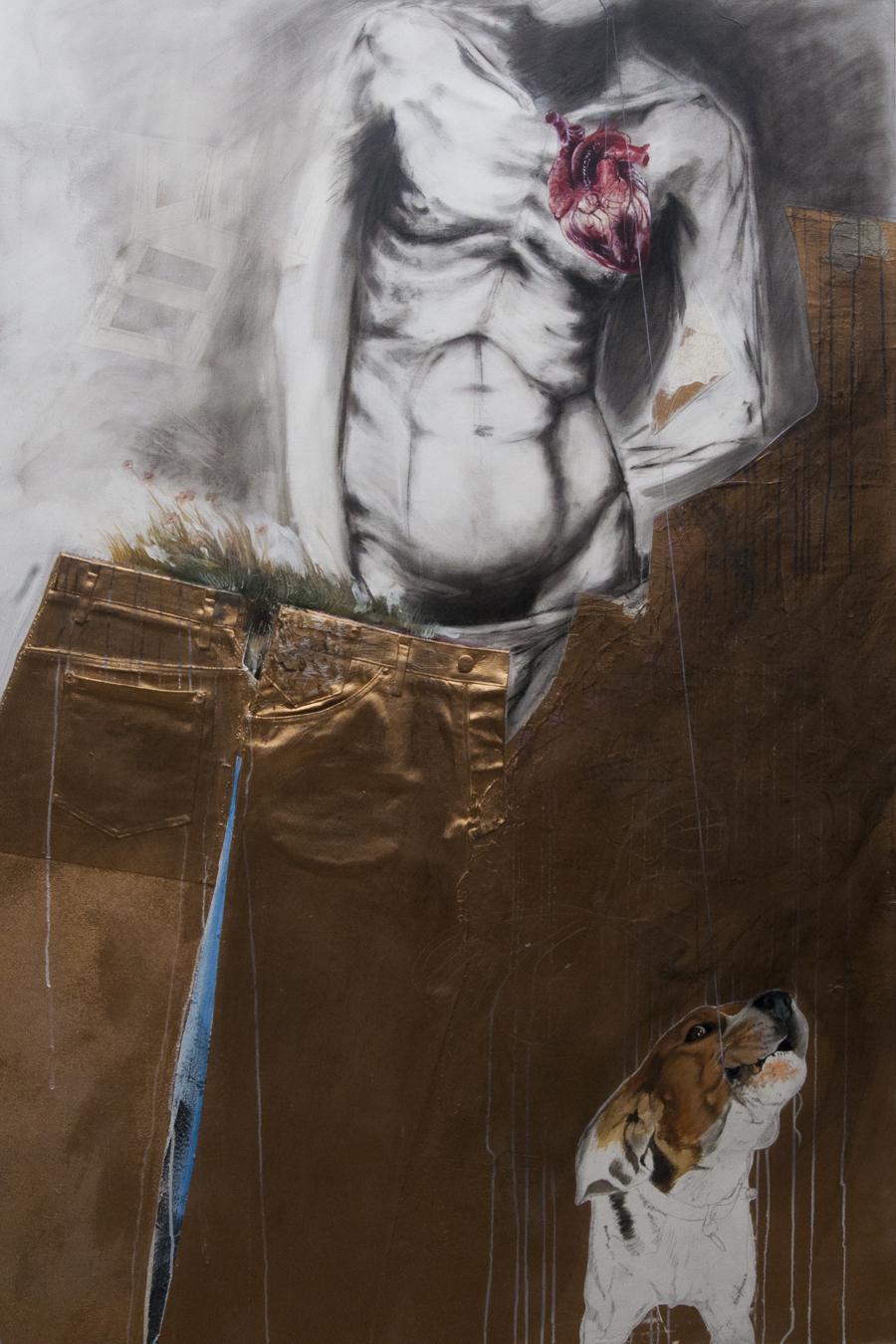 O meu coração ficou com o cão, técnica mista sobre tela, 150 x100 cm,  2015