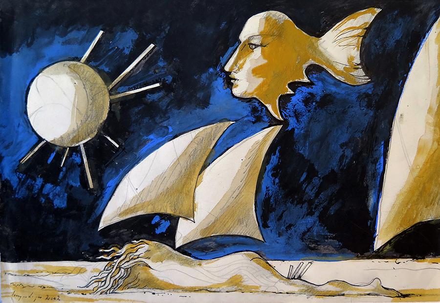 Longa viagem ao mundo das palavras azuis, tecnica mista sobre papel, 21 x 31 cm