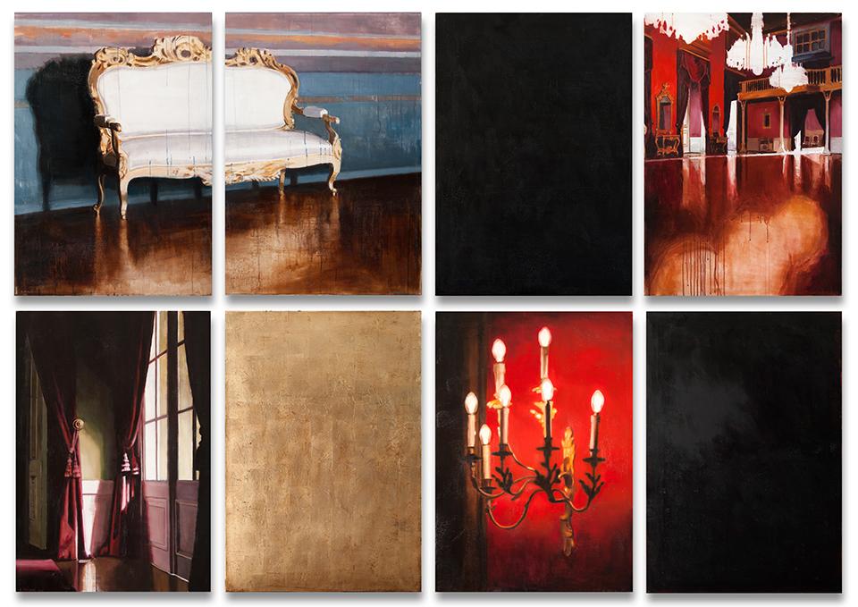 Contos do Palácio II, políptico de 8 peças, óleo sobre papel montado em tela, 200 x 280 cm