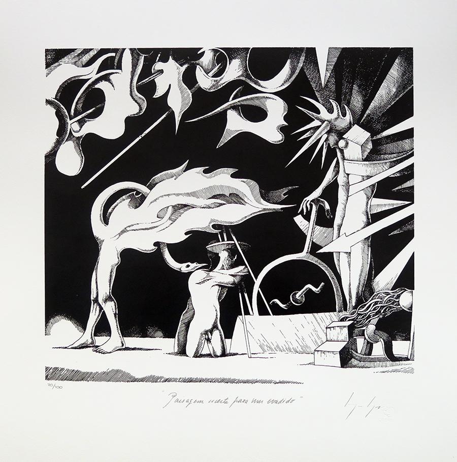 Paisagem Secreta para um Evadido, serigrafia sobre tela, 50 x 40 cm, 2018