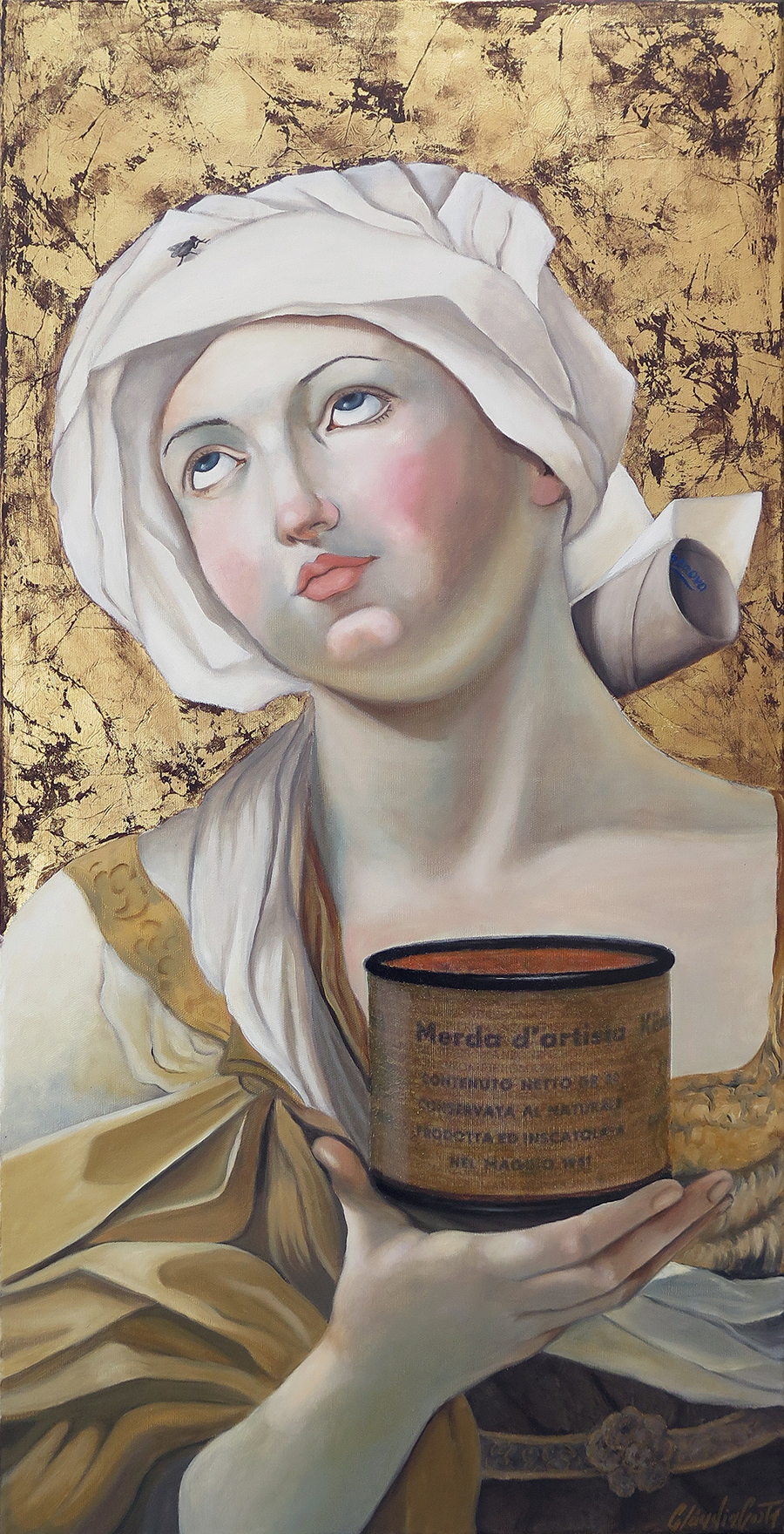 Dialogo-escatologico-de-Guido-Reni-e-Piero-Manzoni-tecnica-mista-sobre-tela-100-x-50-cm