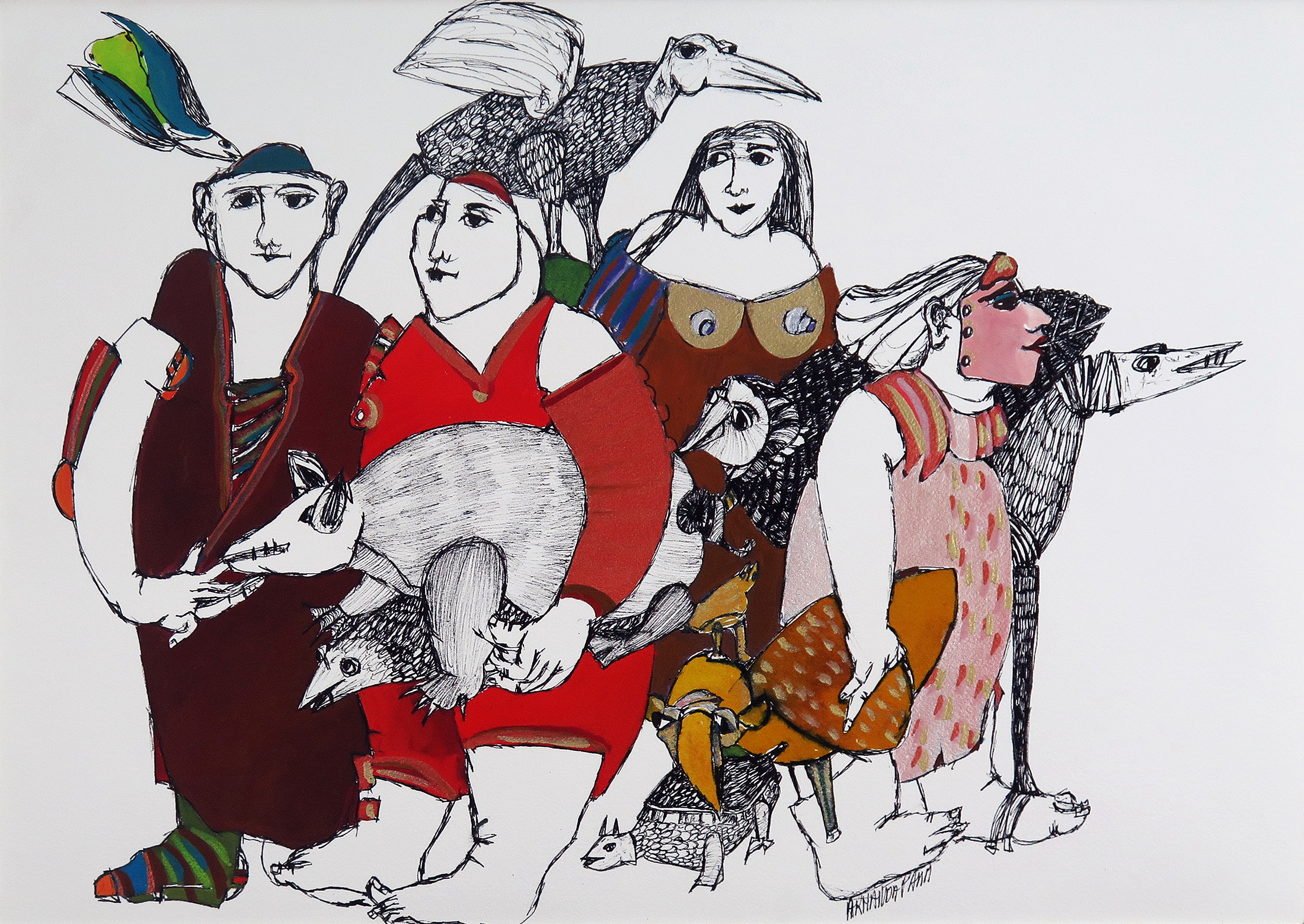 Armanda Passos, guache sobre papel, 35 x 50 cm