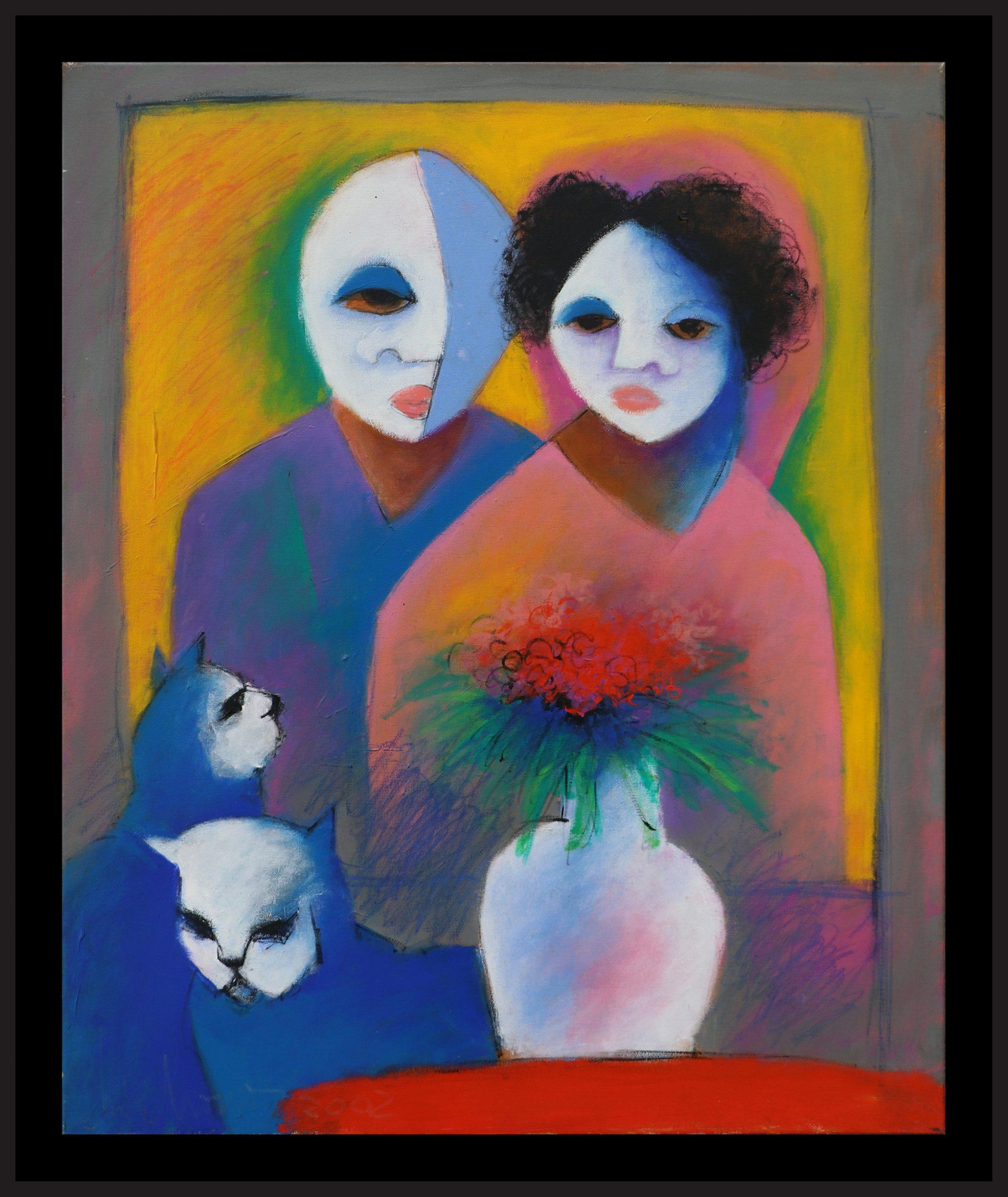 Retrato para dia de Casamento com Gatos em Azul, óleo sobre tela, 72 x 60 cm, 2003