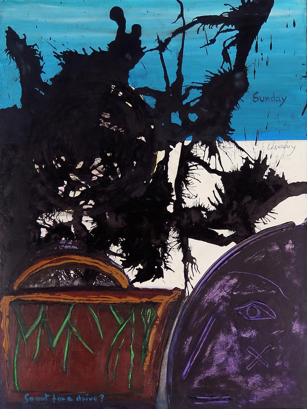 Sunday, So Out for a Drive, acrilico sobre madeira, 56 x 41,5 cm