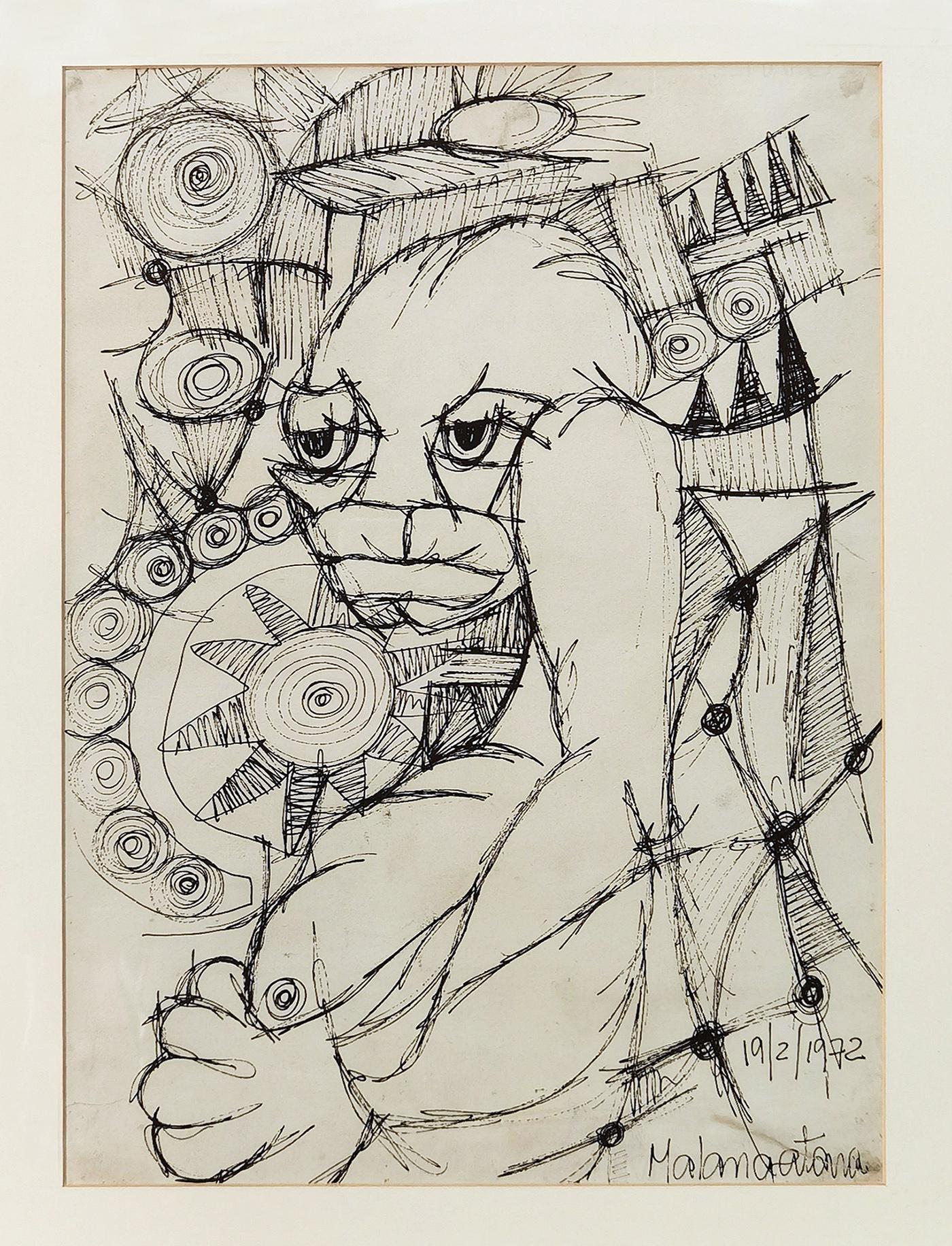 Sem título, desenho a tinta da chinha, 44 x 32 cm, 1972